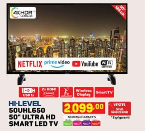 A101 Hi-Level 50UHL650 50″ Ultra Hd Smart Led Tv Yorumları